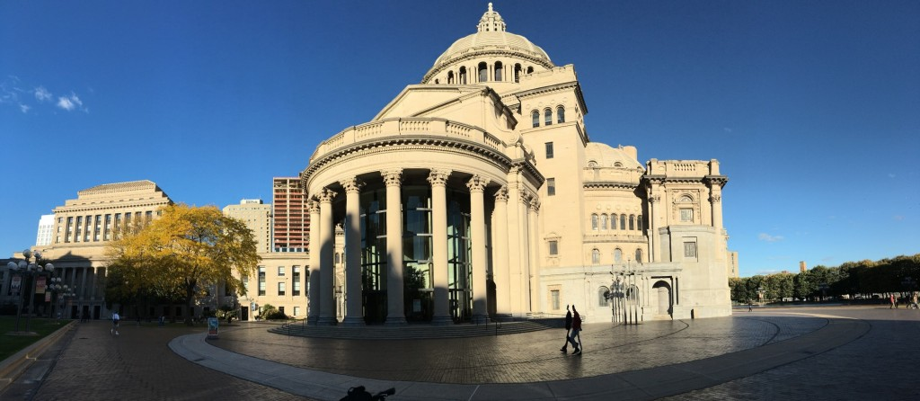 Outside the Church of Christ, Scientist on a sunny autumn evening