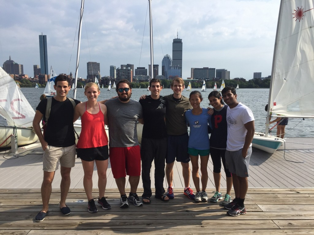 MIT Sloan students sailing on the Charles River