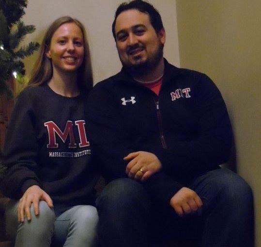 Me wearing my new MIT jacket and my wife, Erica, in her new MIT sweatshirt