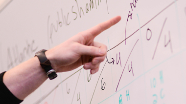 Photo of a hand pointing at figures on a white board